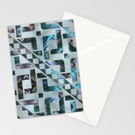 Abstract Geometric Labradorite on Mother of pearl Stationery Cards
