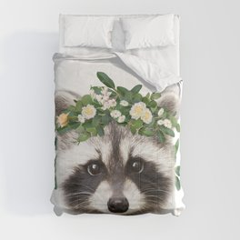 Baby Raccoon With Flower Crown, Baby Animals Art Print By Synplus Comforters
