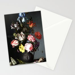 Flowers In A Vase With Shells And Insects Stationery Cards