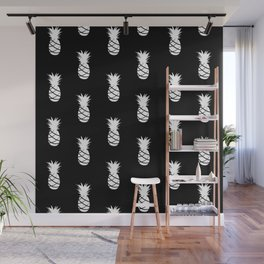 Black and White Pineapple - Modern Tropical Pattern Wall Mural
