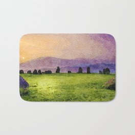 Sunrise at Castlerigg Stone Circle, Keswick, Lake District, Uk. Watercolour Painting Bath Mat