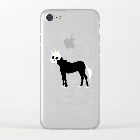 Skullhead Unicorn Clear iPhone Case
