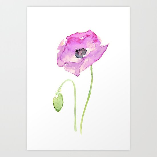 Flower Purple Poppy Floral Watercolor Art Print