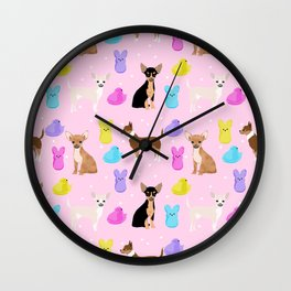 Chihuahua dog breed marshmallow peeps easter spring traditions cute dog breed gifts chihuahuas Wall Clock