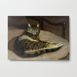 """""""Cat on a Chair"""" by Theophile Steinlen Metal Print"""