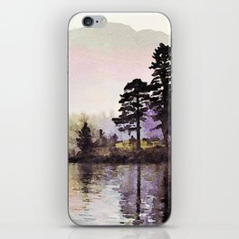 Pines along the Lake in the Mist, Lake District, UK. Watercolor Painting iPhone Skin