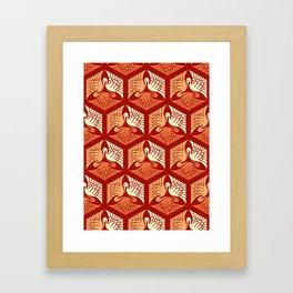 Japanese Cranes, Mandarin and Light Orange Framed Art Print