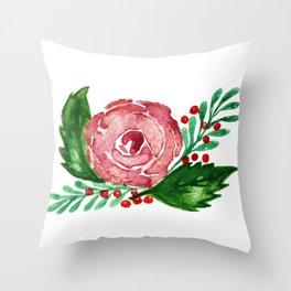 Watercolor Rose Wreath Throw Pillow