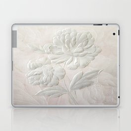 Embossed Painterly White Floral Abstract Laptop & iPad Skin
