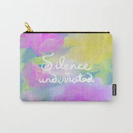 Silence is Underrated Quote Romantic Floral Blue Watercolor Purple Pink Flowers Carry-All Pouch