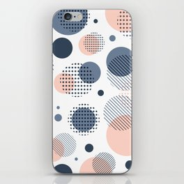 Abstract Modern Blue-gray, Pink, Yellow Dots Pattern iPhone Skin