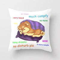 meme Throw Pillows featuring Shiba Doge Meme by Souki Art