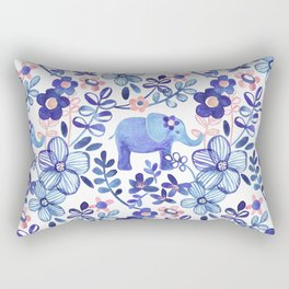Pale Coral, White and Purple Elephant and Floral Watercolor Pattern Rectangular Pillow