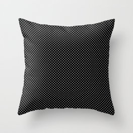 Classic White Polka Dot Hearts on Black Background Throw Pillow