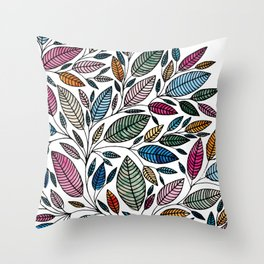 Watercolor Leaf Illustration BP0732 Throw Pillow