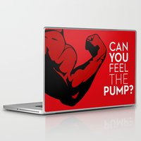 fitness Laptop & iPad Skins featuring CAN YOU FEEL THE PUMP? FITNESS SLOGAN CROSSFIT MUSCLE by HAPPY