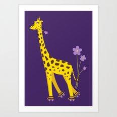 Funny Giraffe Roller Skating Art Print