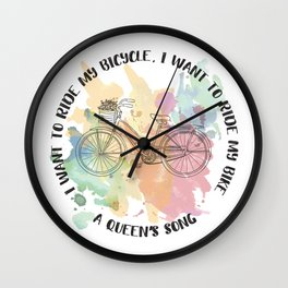 Ride my bicycle Wall Clock
