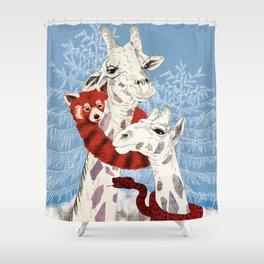 Winter Giraffes  Shower Curtain