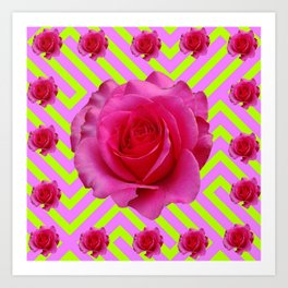 CONTEMPORARY CHARTREUSE PINK ROSES ABSTRACT GARDEN ART Art Print