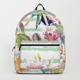 Watercolor cactus, floral and stripes design Backpack