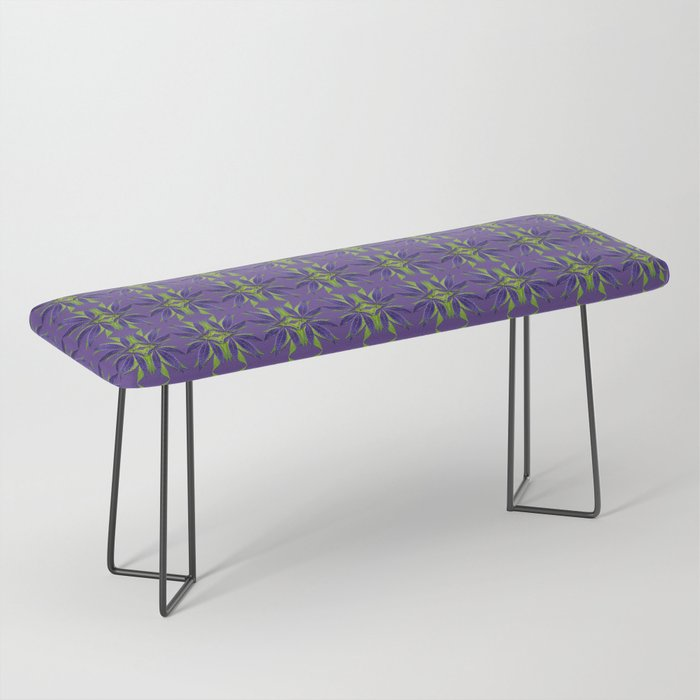 Marijuana Leaves Ultra Violet Pattern Bench