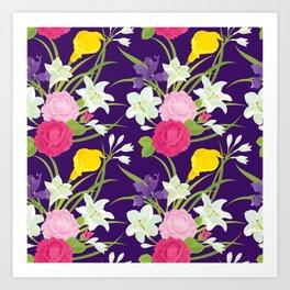 Renaissance Floral Pattern /Purple Art Print