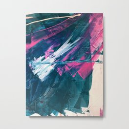 Wild [3]: a bold, vibrant abstract minimal piece in teal and neon pink Metal Print