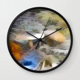 Mushrooms Needles Mosses Wall Clock