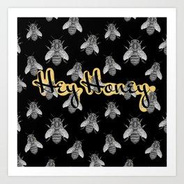 Hey Honey Texture Typography Art Print