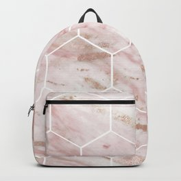 Pink marble with rose gold accents - hexagons Backpack