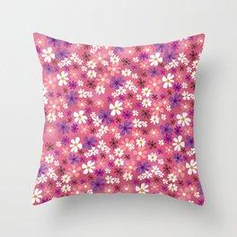 Retro Pink Flowers Throw Pillow