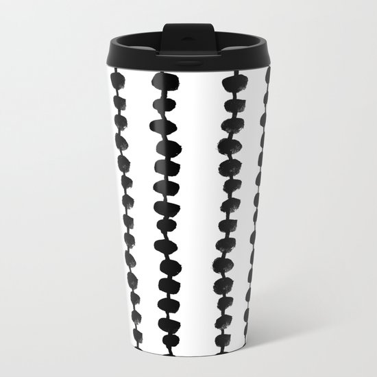 Linocut black and white dots pattern minimalist home decor nursery trendy dotted pattern Metal Travel Mug