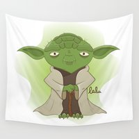 yoda Wall Tapestries featuring Yoda by Lalu