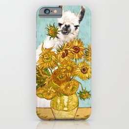 Naughty Llama and The Sunflowers iPhone Case