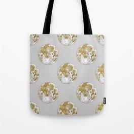 Golden Moon Pattern Tote Bag