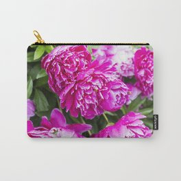 Hot Pink Peony with Raindrops 3 Carry-All Pouch