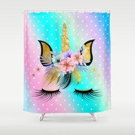 Floral Rainbow Unicorn  Shower Curtain