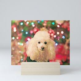 Christmas Poodle dog Mini Art Print