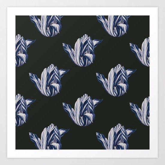 Midnight Tulips in navy Art Print