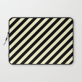 Cream Yellow and Black Diagonal RTL Stripes Laptop Sleeve
