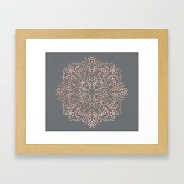 Mandala Rose Gold Pink Shimmer on Soft Gray by Nature Magick Framed Art Print