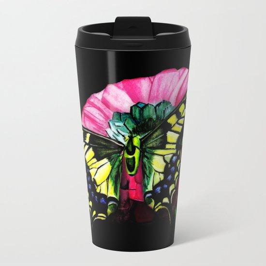 Watercolor Butterfly Metal Travel Mug