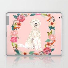 golden doodle dog floral wreath dog gifts pet portraits Laptop & iPad Skin