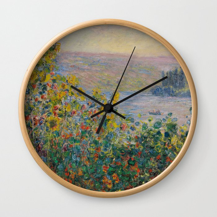 Flower Beds at Vétheuil Wall Clock