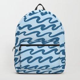 Abstract Metallic Sea Waves Saltwater Taffy Teal on Blue Raspberry Backpack