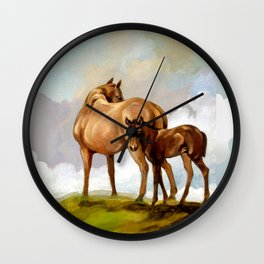 Thoroughbred Mare and Foal Wall Clock