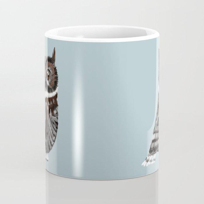Adorable Owl In Blue Coffee Mug