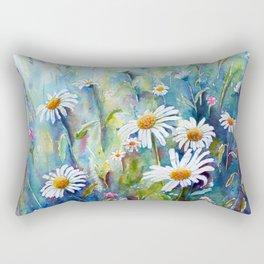 Watercolor Daisy Field Rectangular Pillow