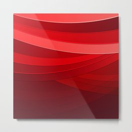 Pink To Red Abstract Line Waves Metal Print